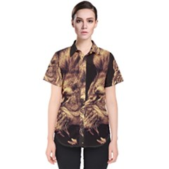 Angry Male Lion Gold Women s Short Sleeve Shirt