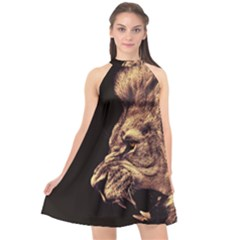 Angry Male Lion Gold Halter Neckline Chiffon Dress
