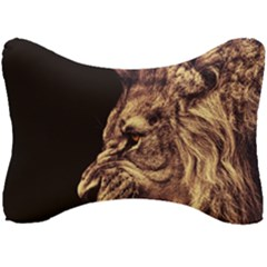 Angry Male Lion Gold Seat Head Rest Cushion