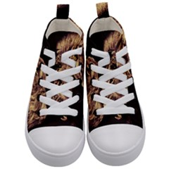 Angry Male Lion Gold Kid s Mid Top Canvas Sneakers