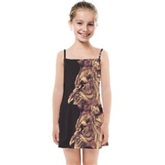 Angry Male Lion Gold Kids Summer Sun Dress