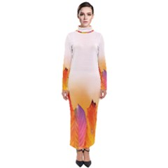 Autumn Leaves Colorful Fall Foliage Turtleneck Maxi Dress
