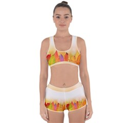 Autumn Leaves Colorful Fall Foliage Racerback Boyleg Bikini Set