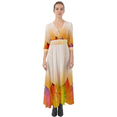 Autumn Leaves Colorful Fall Foliage Button Up Boho Maxi Dress