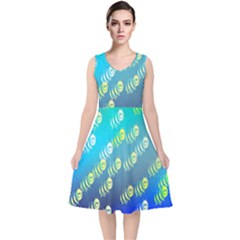 Animal Nature Cartoon Wild Wildlife Wild Life V Neck Midi Sleeveless Dress
