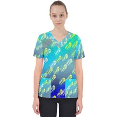 Animal Nature Cartoon Wild Wildlife Wild Life Women s V Neck Scrub Top