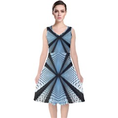 6th Dimension Metal Abstract Obtained Through Mirroring V Neck Midi Sleeveless Dress