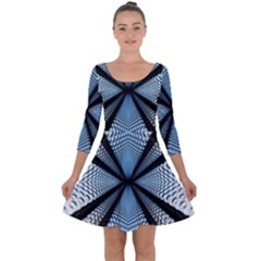 6th Dimension Metal Abstract Obtained Through Mirroring Quarter Sleeve Skater Dress