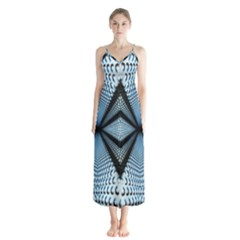 6th Dimension Metal Abstract Obtained Through Mirroring Button Up Chiffon Maxi Dress