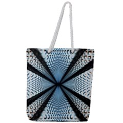 6th Dimension Metal Abstract Obtained Through Mirroring Full Print Rope Handle Tote (large)