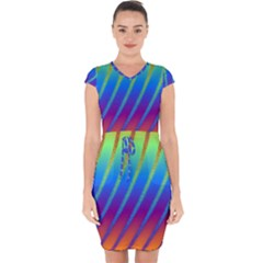 Abstract Fractal Multicolored Background Capsleeve Drawstring Dress