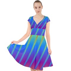 Abstract Fractal Multicolored Background Cap Sleeve Front Wrap Midi Dress
