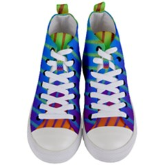 Abstract Fractal Multicolored Background Women s Mid Top Canvas Sneakers