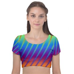 Abstract Fractal Multicolored Background Velvet Short Sleeve Crop Top