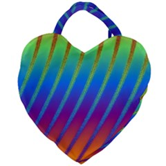 Abstract Fractal Multicolored Background Giant Heart Shaped Tote by Samandel