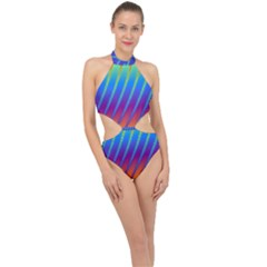 Abstract Fractal Multicolored Background Halter Side Cut Swimsuit