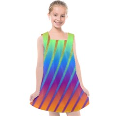 Abstract Fractal Multicolored Background Kids  Cross Back Dress