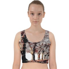 Autumn Fractal Forest Background Velvet Racer Back Crop Top