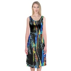 Abstract 3d Blender Colorful Midi Sleeveless Dress