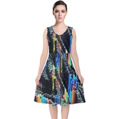 Abstract 3d Blender Colorful V Neck Midi Sleeveless Dress