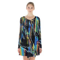 Abstract 3d Blender Colorful Long Sleeve Velvet V Neck Dress