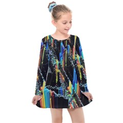 Abstract 3d Blender Colorful Kids  Long Sleeve Dress