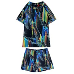 Abstract 3d Blender Colorful Kids  Swim Tee And Shorts Set