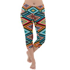 African Tribal Patterns Lightweight Velour Capri Yoga Leggings
