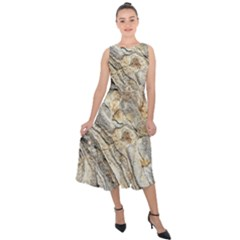 Background Structure Abstract Grain Marble Texture Midi Tie Back Chiffon Dress