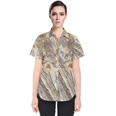 Background Structure Abstract Grain Marble Texture Women s Short Sleeve Shirt