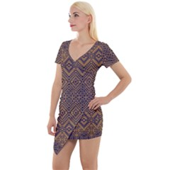 Aztec Pattern Short Sleeve Asymmetric Mini Dress