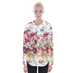 Fleur Vintage Floral Painting Womens Long Sleeve Shirt
