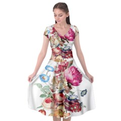 Fleur Vintage Floral Painting Cap Sleeve Wrap Front Dress