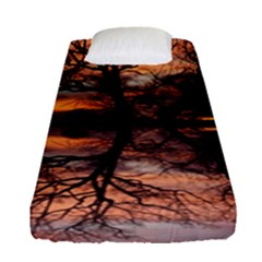 Aurora Sunset Sun Landscape Fitted Sheet (single Size)