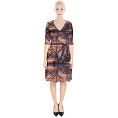 Aurora Sunset Sun Landscape Wrap Up Cocktail Dress