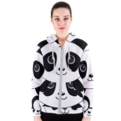 Bear Panda Bear Panda Animals Women s Zipper Hoodie by Samandel