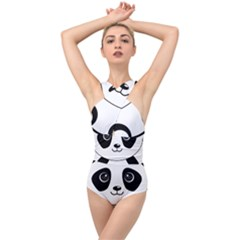 Bear Panda Bear Panda Animals Cross Front Low Back Swimsuit