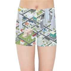 Simple Map Of The City Kids Sports Shorts