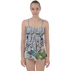 Simple Map Of The City Babydoll Tankini Set