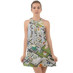 Simple Map Of The City Halter Tie Back Chiffon Dress by Samandel