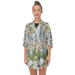 Simple Map Of The City Half Sleeve Chiffon Kimono