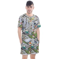Simple Map Of The City Men s Mesh Tee And Shorts Set by Samandel