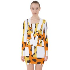 Giraffe Africa Safari Wildlife V Neck Bodycon Long Sleeve Dress