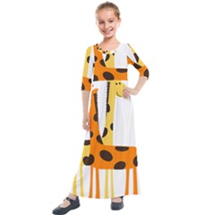 Giraffe Africa Safari Wildlife Kids  Quarter Sleeve Maxi Dress
