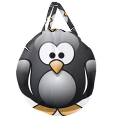 Penguin Birds Aquatic Flightless Giant Round Zipper Tote