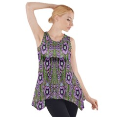 Jungle Fantasy Flowers Climbing To Be In Freedom Side Drop Tank Tunic