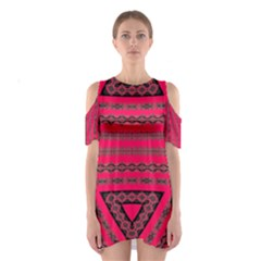 Ghost Gear   Hot Pink Geo   Shoulder Cutout One Piece Dress by GhostGear