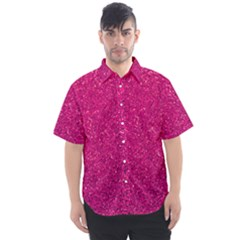 Hot Pink Glitter Men s Short Sleeve Shirt