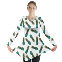 Pinapples Teal Long Sleeve Tunic  by snowwhitegirl
