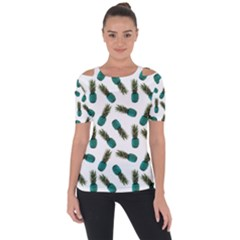 Pinapples Teal Shoulder Cut Out Short Sleeve Top